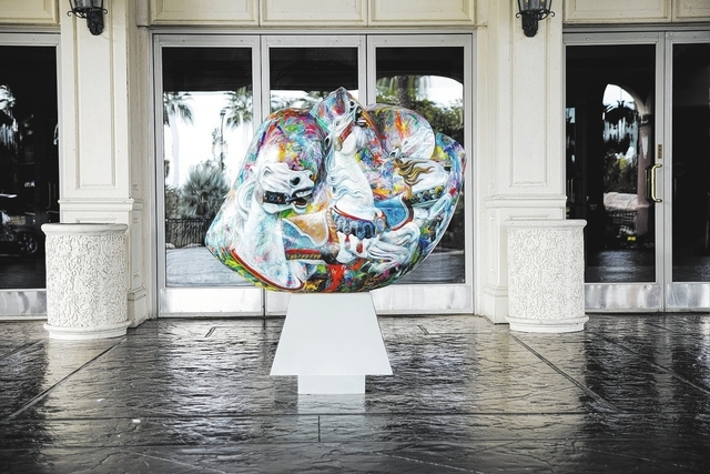 A painted heart sits at the front door of the Rampart Casino, 221 N. Rampart Blvd., Nov. 20. (Robert Winn/View)