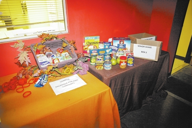 A display at Three Square food bank, 4190 N. Pecos Road, shows the types of food the organization provides for recipients as part of its BackPack for Kids program. (Robert Winn/View)