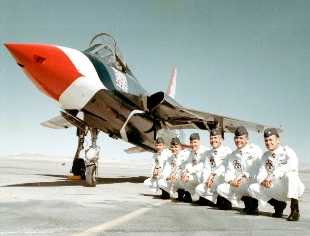Capt. Gene Devlin, second from right, is shown with other Thunderbirds pilots in this undated photo. Devlin was killed in a 1964 crash of an F-105 Thunderchief in California. (COURTESY)