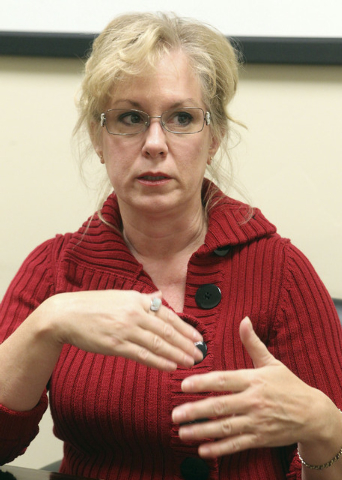 Linda Gilliam, formerly a respiratory therapist at Summerlin Hospital speaks about a pending lawsuit at attorney Matthew Callister's office in Las Vegas, Thursday, Nov. 21, 2013. Gilliam may have  ...