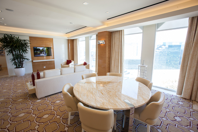 The living room area of one of the newly renovated Sky Villas on the 20th floor of the Tropicana Las Vegas is seen on Monday, Nov. 25, 2013. (Chase Stevens/Las Vegas Review-Journal)