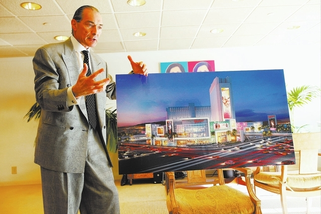 Tropicana Las Vegas President Alex Yemenidjian displays concept art, during an interview with the Review-Journal, for a planned shopping mall to be made at the hotel-casino's location at Las Vegas ...