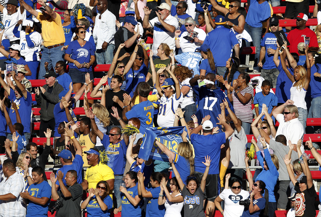 San Jose State fans cheer after their team scored against UNLV during their football game at Sam Boyd Stadium in Las Vegas Saturday, Nov. 2, 2013. (John Locher/Las Vegas Review-Journal)