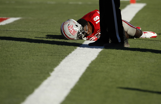 UNLV wide receiver Marcus Sullivan lies on the ground after missing a catch for a touchdown against San Jose State during their football game at Sam Boyd Stadium in Las Vegas Saturday, Nov. 2, 201 ...