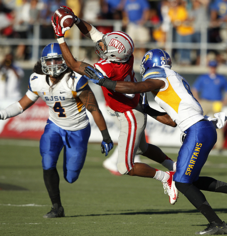 UNLV wide receiver Maika Mataele makes a reception against San Jose State during their football game at Sam Boyd Stadium in Las Vegas Saturday, Nov. 2, 2013. (John Locher/Las Vegas Review-Journal)