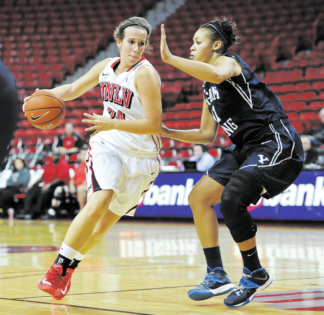 UNLV post player Alana Cesarz is back in action after suffering a torn knee ligament that ended her sophomore season on Jan. 23.