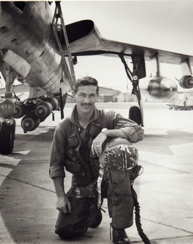 Air force Capt. Don Harten poses for a photo taken in Thailand in 1968 next to his F-105 fighter.  Harten was an Air Force 1st. Lieutenant in 1965 when he was involved in a mid-air collision invol ...