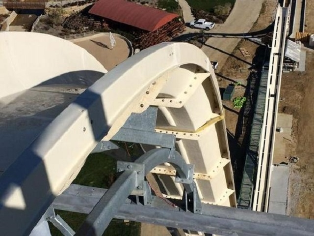 View from the top of the Verrückt water slide, which will be the world's fastest and tallest water slide when it is complete. (Schlitterbahn)