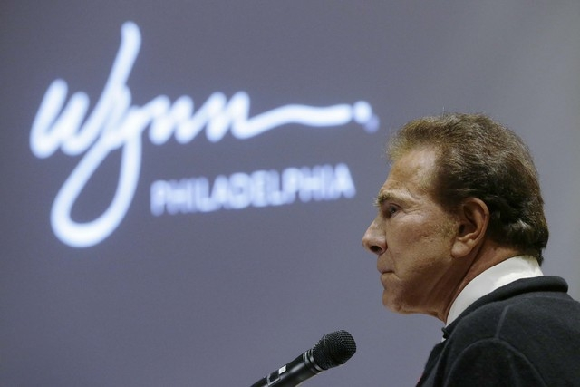 In this Feb. 12, 2013, file photo casino mogul Steve Wynn addresses the  Pennsylvania Gaming Control Board in Philadelphia. Wynn Resorts Ltd. said Monday it is withdrawing its proposal to build a  ...