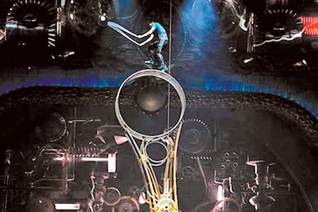 """Performers rehearse on the """"Wheel of Death"""" as part of """"Zarkana"""" in this undated file photo provided by Cirque du Soleil. (Courtesy)"""