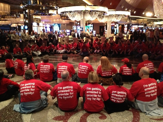 Culinary Union members protest inside the Cosmopolitan in Las Vegas on Friday. (John Locher/Las Vegas Review-Journal)