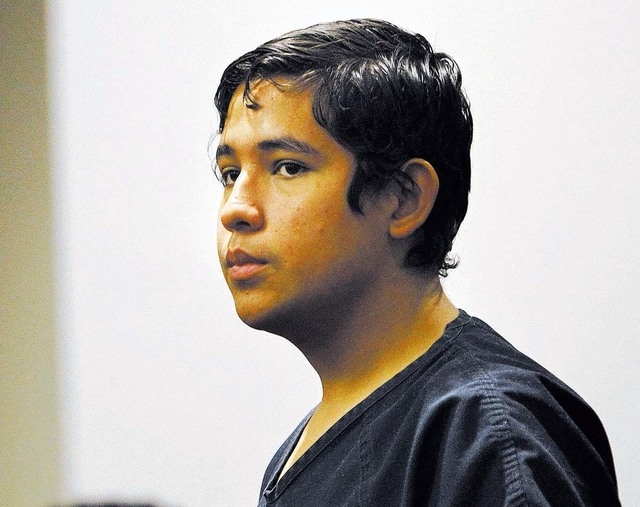 Adrian Navarro-Canales, shown in court on Oct. 30, pleaded not guilty on Monday to charges he stabbed to death his mother and 9-year-old brother. (Jason Bean/Las Vegas Review-Journal file)