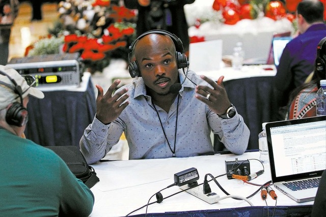 Boxer Timothy Bradley does radio interviews at the Palazzo in Las Vegas Thursday, Nov. 21, 2013. (John Locher/Las Vegas Review-Journal)