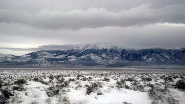 Clouds shroud the mountaintops along U.S. Highway 93 on Friday. (Courtesy, Nevada Highway Patrol, Elko)