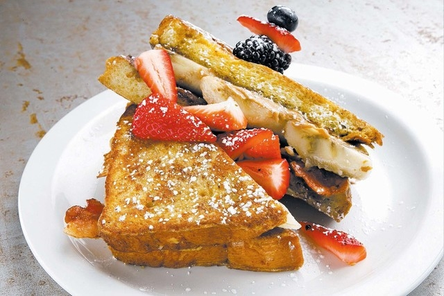 Fat Elvis French Toast is shown as served at the MTO restaurant located at 500 S. Main St., in Las Vegas on Wednesday, Nov. 6, 2013. (Jeferson Applegate/Las Vegas Review-Journal)