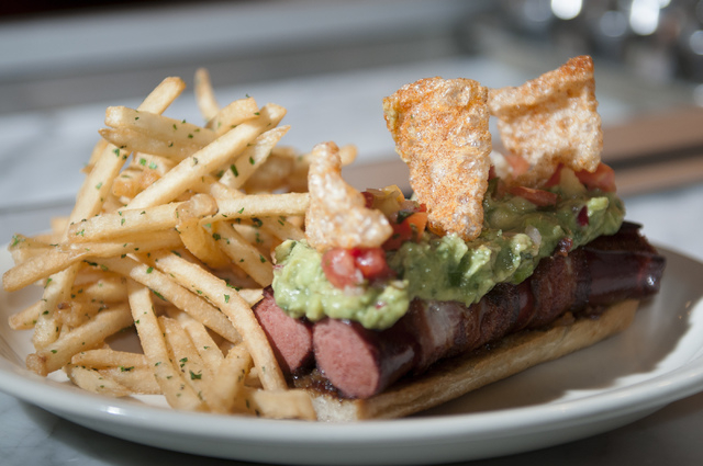 The double dog dare is served with guacamole, pico de gallo and chicharones at Michael Mina's Pub 1842 inside the MGM Grand. (Erik Verduzco/Las Vegas Review-Journal)