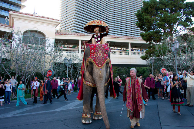 One of the most extravagant weddings held in Las Vegas included a grand entrance on an elephant by Houston businessman Pankaj Malani. (Photo courtesy of Katie Fowler)