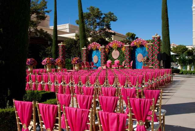 The scene of the opulent wedding held at the Bellagio pool on Saturday for Houston businessman Pankaj Malani of India and Avnie Patel, a Houston physician's assistant. The week-long celebration st ...