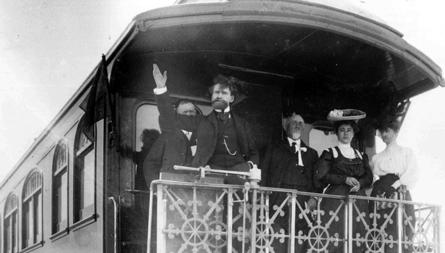 Owner of the railroad which established the town of Las Vegas in 1905, William A. Clark greets the town's citizens from his private railcar that year. His company auctioned off the lots that becam ...