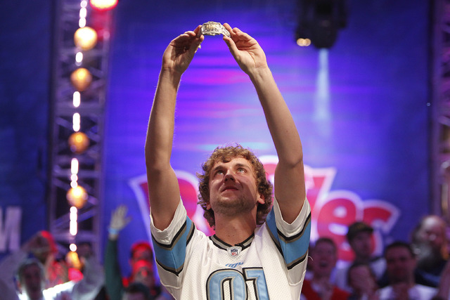 Ryan Riess celebrates after winning the World Series of Poker at the Rio in Las Vegas Tuesday, Nov. 5, 2013. (John Locher/Las Vegas Review-Journal)