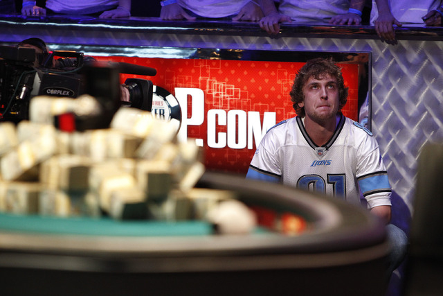 Ryan Riess waits seconds before winning the World Series of Poker at the Rio in Las Vegas Tuesday, Nov. 5, 2013. (John Locher/Las Vegas Review-Journal)