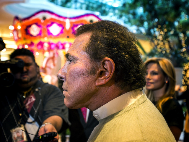 Steve Wynn , chairman and CEO of Wynn Resorts, speaks Monday, Nov. 25, 2013 during the unveiling of floral installations in the atrium at Wynn Las Vegas.  (Jeff Scheid/Las Vegas Review-Journal)