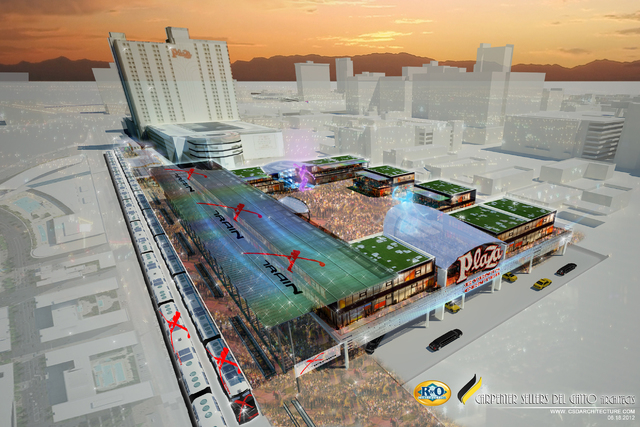 This rendering shows a station for Las Vegas Railway Express' X Train at the Plaza in downtown Las Vegas.  (Courtesy image)
