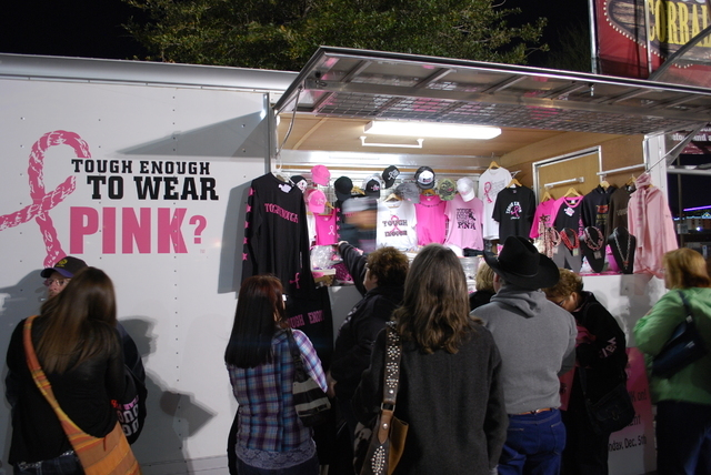 Rodeo fans can buy Tough Enough To Wear Pink gear at the Wrangler National Finals Rodeo in support of the industry's No. 1 charity program. (Neal Reid/Special to the Las Vegas Review-Journal)