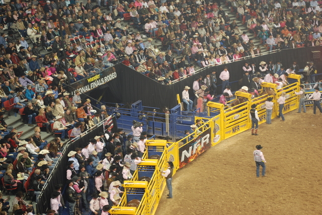 Monday night was Tough Enough To Wear Pink Night at the National Finals Rodeo in the Thomas & Mack Center. (Neal Reid/Special to the Las Vegas Review-Journal)