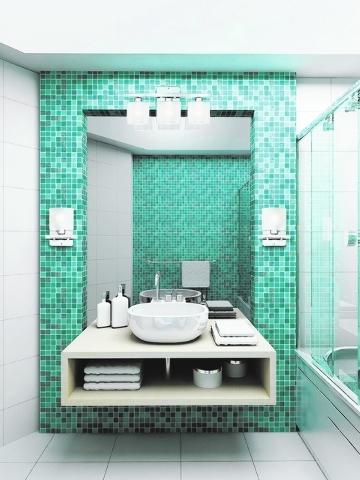 022012-contemporary-modern-bathroom-1; contemporary modern style; bathroom; sconces wall lamps placement; U1332 bathlight 23.5 w; U1330 sconces 9.5 h; Y1034 bath bar