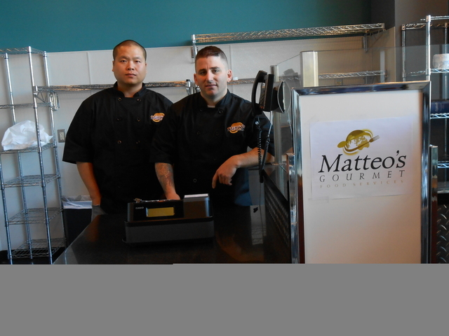 John Oh and Matthew Meyer stand inside Matteo's Gourmet Cafe at Crovetti Orthopaedics and Sports Medicine in Henderson. The cafe is slated to open Dec. 30. (Michael Lyle/ Las Vegas Review-Journal)