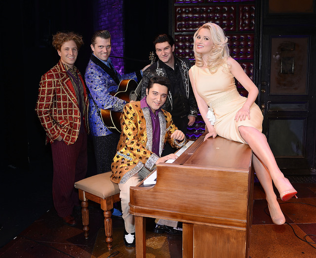 "Holly Madison enjoys a moment with ""The Million Dollar Quartet"" cast members, from left, Martin Kaye, Robert Britton Lyons, Justin Shandor and Benjamin D. Hale at Harrah's Las Vegas on Wednesday.  ..."