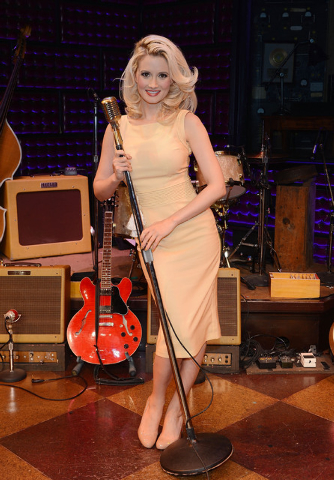 "Holly Madison poses for a photo after her guest appearance in ""The Million Dollar Quartet"" at Harrah's Las Vegas. (Denise Truscello/WireImage)"