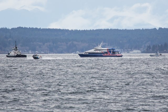 A police vessel moves toward the waterfront, away from the Victoria Clipper, which has been adrift in Elliot Bay since Sunday morning in Seattle. (AP Photo/The Seattle Times, Marcus Yam)