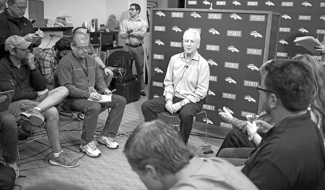 Denver Broncos head football coach John Fox speaks at a news conference at the NFL team's headquarters in Englewood, Colo. on Monday. Fox returned to work on Monday for the first time since having ...