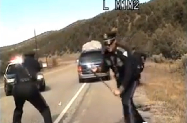 Three New Mexico State Police officers react as a minivan driven by motorist Oriana Farrell pulls away from a chaotic traffic stop that included one officer bashing the vans window with his night  ...