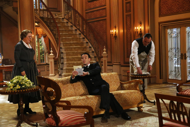 """This photo provided by NBC shows, from left, Kristine Nielson as Frau Schmidt, Stephen Moyer as Captain Von Trapp, and Sean Cullen as Franz, in """"The Sound of Music Live!"""" airing Thursday ..."""