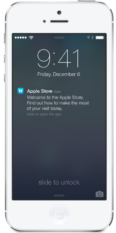 This undated photo provided by Apple shows the screen on an iPhone using Apple's iBeacon, offering precise location technology. On Friday, Dec. 6, 2013, Apple Inc. will begin using iBeacon, a part ...