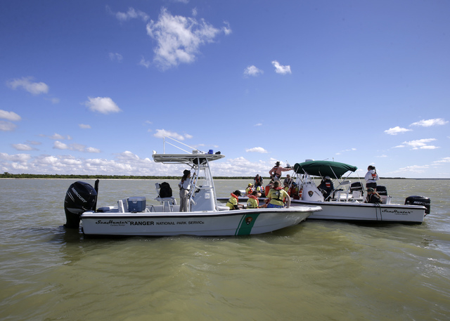 National Park Rangers and NOAA specialists search the ocean for stranded pilot whales,Thursday, Dec. 5, 2013, in the Everglades National Park, Fla. Wildlife officials prepared Thursday to use soun ...