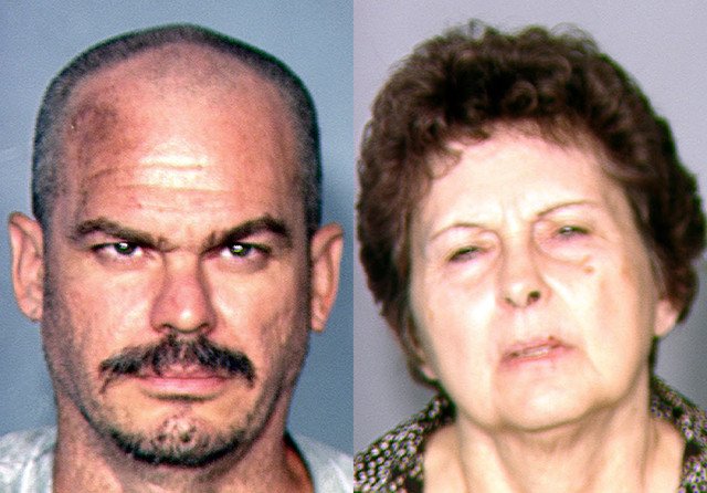 This combination of file photos provided by the Las Vegas Metropolitan Police Department on Aug. 22, 2013, shows David Allen Brutsche, left, and Devon Campbell Newman, who were arrested in Las Veg ...