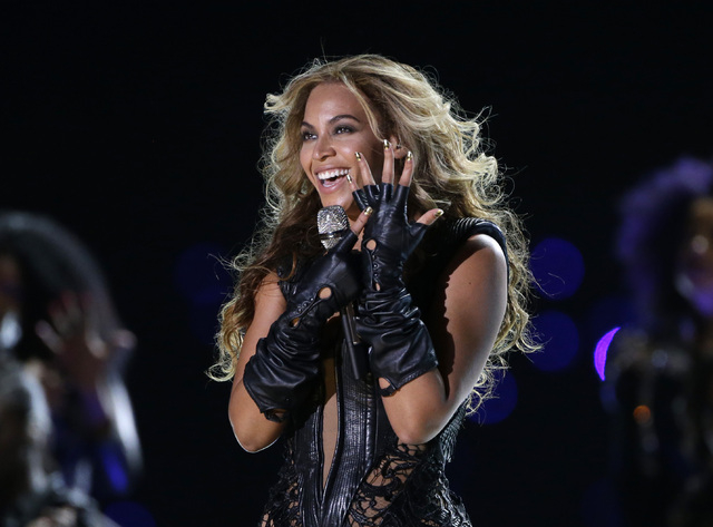 FILE - In this Feb. 3, 2013 file photo, Beyonce performs during the halftime show of  the NFL Super Bowl XLVII football game between the San Francisco 49ers and the Baltimore Ravens, in New Orlean ...