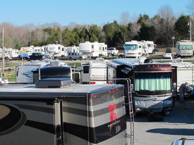 RVs are lined up at the Green River Stables campground near Campbellsville, Ky., which has become a Christmas-season tradition. The Amazon.com facility nearby recruits RV owners to come in as seas ...