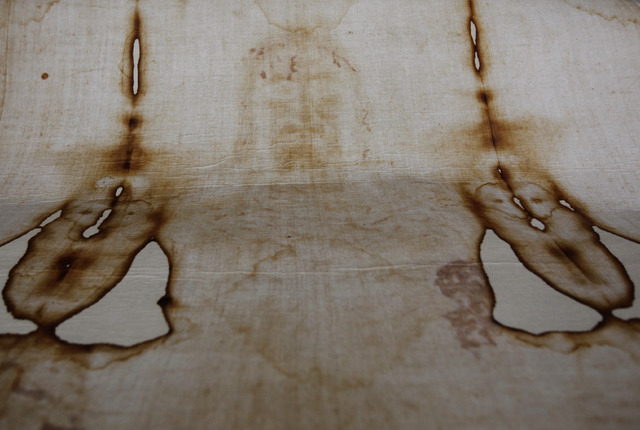 FILE - This Thursday, Sept. 30, 2010 file photo shows a replica of the Shroud of Turin, which some believe is Jesus Christ's burial cloth, at a church in Beirut, Lebanon. The cloth bears the figur ...