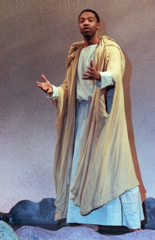 """FILE - In this Friday, Feb. 28, 1997 file photo, actor Desi Arnaz Giles rehearses for """"Passion Play"""" at the Park Theater Performing Arts Center in Union City. N.J. Giles' portrayal of Je ..."""