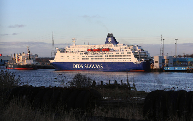 The DFDS Seaways ferry King Seaways berthed at the Port of Tyne International Passenger Terminal, at Newcastle Ferry Port,  England, Sunday, Dec. 29, 2013. British police have arrested two men in  ...