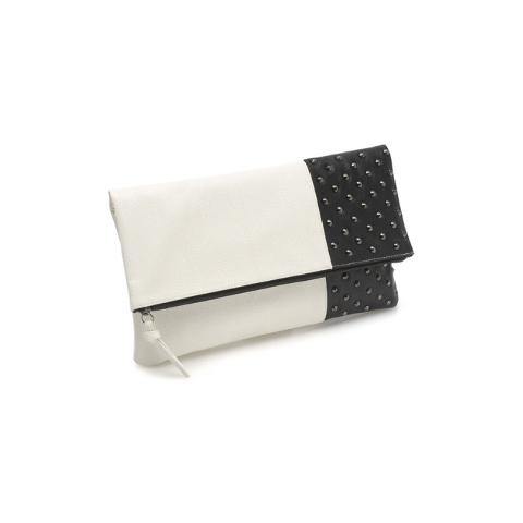 Black and white zip clutch (corresponding to first look — office) is from United Colors of Benetton at Miracle Mile Shops $59.50