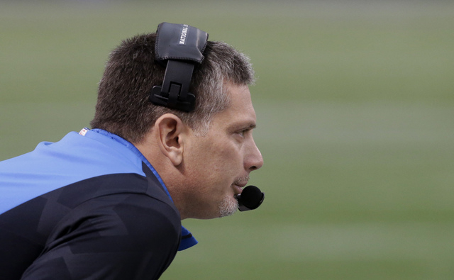 Detroit Lions head coach Jim Schwartz looks on from the sideline during the first half of an NFL football game against the Minnesota Vikings, Sunday, Dec. 29, 2013, in Minneapolis. (AP Photo/Jim Mone)