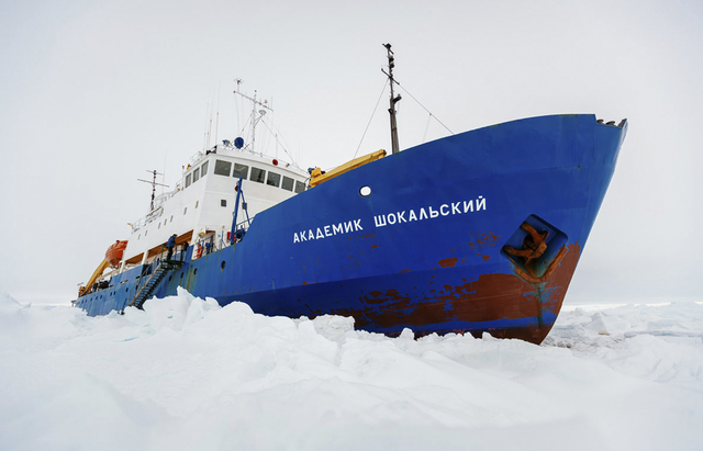 In this image provided by Australasian Antarctic Expedition/Footloose Fotography the Russian ship MV Akademik Shokalskiy is trapped in thick Antarctic ice 1,500 nautical miles south of Hobart, Aus ...