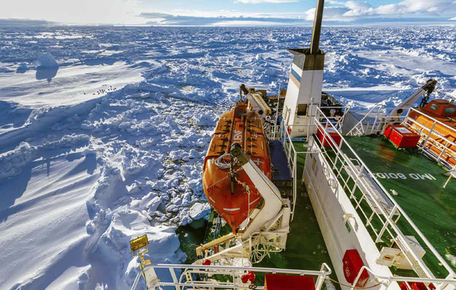 In this image provided by Australasian Antarctic Expedition/Footloose Fotography, Russian ship MV Akademik Shokalskiy is trapped in thick Antarctic ice, 1,500 nautical miles south of Hobart, Austr ...