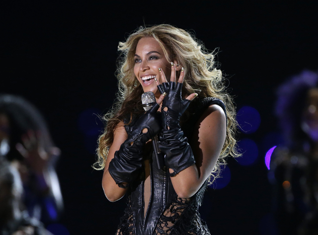 FILE - In this Feb. 3, 2013 file photo, Beyonce performs during the Pepsi Super Bowl XLVII Halftime Show football game between the San Francisco 49ers and the Baltimore Ravens, in New Orleans.  Be ...